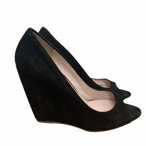 Miu Miu Black Suede Peep Toe Wedge Heels Size 36.5
